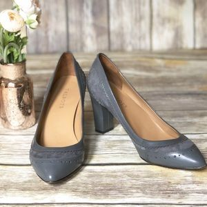 TALBOTS Gray Leather & Suede Scalloped Pump - 9.5